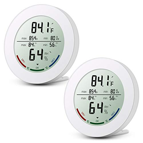 Digital Temperature and Humidity Meter, Indoor Hygrometer Thermometer, Humidity Monitor with LCD Screen, Trend of Temperature Change for Home(2 Pack)