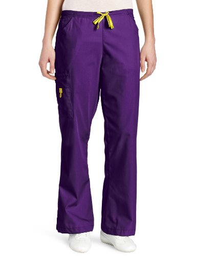 picture of WonderWink Women's Scrubs Romeo 6 Pocket Flare Leg Pant, Grape, X-Large/Petite