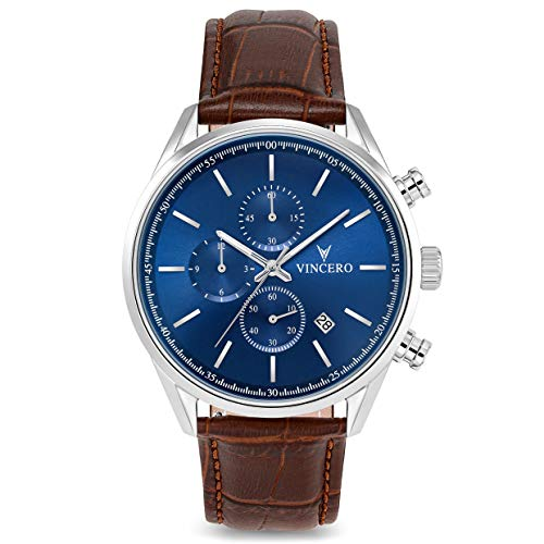Vincero Luxury Men's Chrono S Wrist Watch - Top Grain Italian Leather Watch Band - 40mm Chronograph Watch - Japanese Quartz Movement (Blue/Brown)