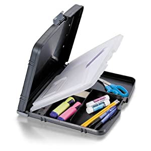 Officemate Triple File Clipboard Storage Box, Recycled, Black (83610)