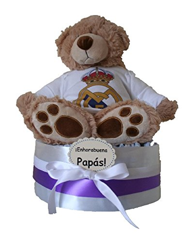 Tarta de pañales Real Madrid Osito, regalo bebe real madrid, Real Madrid bebé