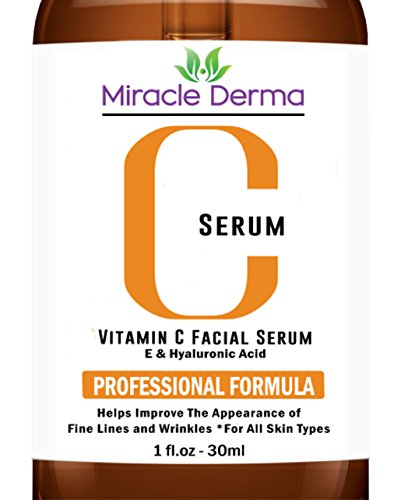 Miracle Derma Best Professional Vitamin C Serum Lotion For Your Face with Hyaluronic Acid 20%, Organic Anti-Aging Cream, Best Topical Facial Serum - Anti Wrinkle Skin Care Benefits 1 fl oz