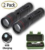 LED Flashlight USB Rechargeable, SoraOutdoors Tactical Flashlights EDC of Military Grade CREE XPE