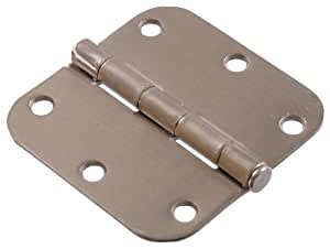 """The Hillman Group 852600 3-1/2"""" Residential Door Hinge - 5/8"""" Round Corner - Removable Pin - Full Mortise - Satin Nickel 1-Pack"""