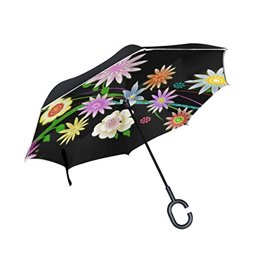 (RYUIFI Double Layer Inverted Edge Flowers Transparency Illustration Umbrellas Reverse Folding Umbrella Windproof Uv Protection Big Straight Umbrella for Car Rain Outdoor with C-Shaped Handle)