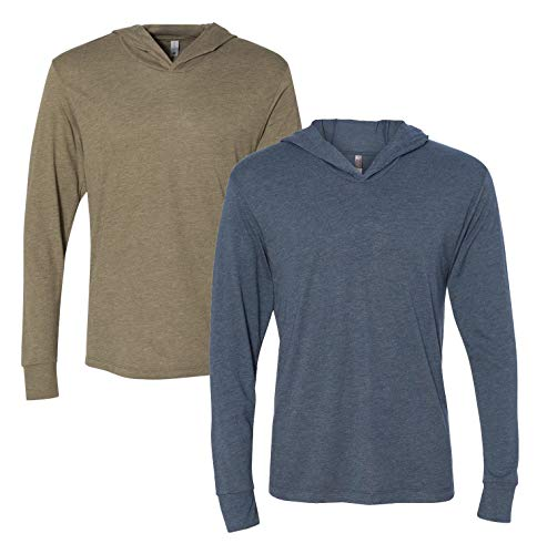 Next Level Apparel Men's Tri-Blend Long-Sleeve Hoodie Blend Long Sleeve Tee
