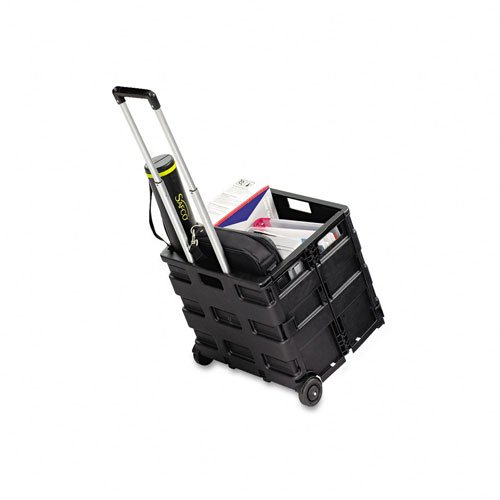 Safco : Stow And Go Crate Cart, 16-1/2 x 3-1/5 x 18, Black -:- Sold as 2 Packs of - 1 - / - Total of 2 Each (Stow And Go Cart)