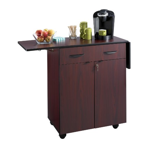 Mobile Coffee Carts - Safco Products 8962MH Hospitality Service Cart, Mahogany