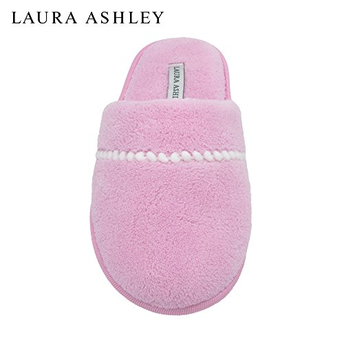 Pink Trim Slip Ons - Laura Ashley Ladies Pom Trim Soft Terry Scuff Slipper in Pink, Size M
