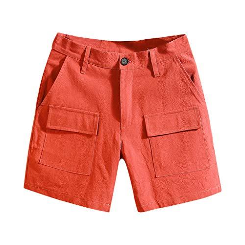 TIFENNY Cotton Linen Shorts for Men Summer Pure Color Multi-Pocket Short Overalls Comfort Beach Short Pants Sweatpants Red