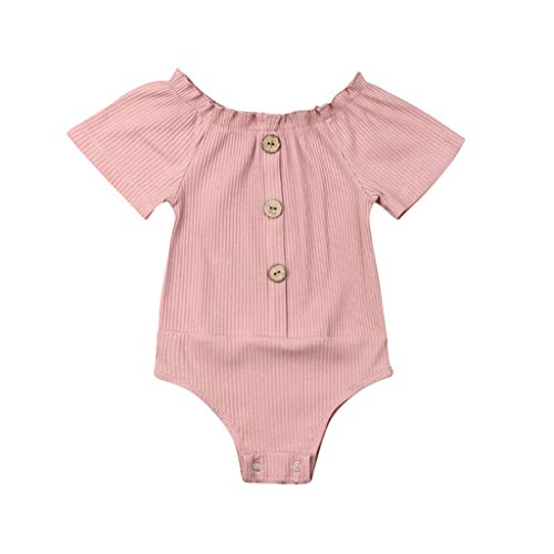 QQ1980s Infant Baby Girls Solid Ruched Romper Cotton O-Neck Cardigan with Button Sunsuit Pajamas Ruffled Casual Clothes (Pink, 80)]()