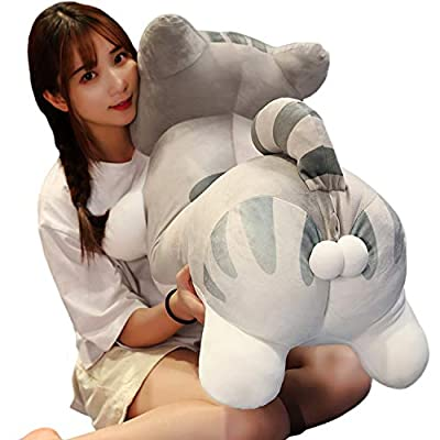 LetGo PP Cotton Cat Giant Plush Hugging Pillow Kitten Stuffed Animals Kitty Body Pet Sleeping Pillow Home Decor, 39.4Inch(Yelllow/Gray): Home & Kitchen