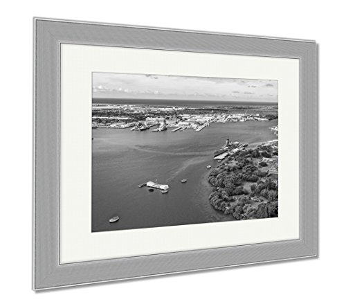 Ashley Framed Prints Aerial View Of Uss Arizona And Uss Missouri Memorials At Ford Is, Wall Art Home Decoration, Black/White, 30x35 (frame size), Silver Frame, AG6407251