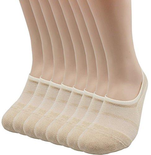 Pro Mountain Men's Women's No Show Flat Cushion Athletic Cotton Footies Sneakers Sports Socks (M(US Women Shoe 7.5~9.5 = Men 6.5~8.5, size10 Unisex), Beige 8pairs Pack - Cushion Show Socks