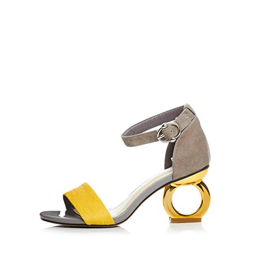 PU Color Sandalias Las Sandalias Yellow 36 de Zapatos Verano Yellow de Alto tacón Primavera Mujer de Sandalias de Sandalias tacón Heteromorphic Grueso tamaño tacón de señoras YPw1qEx