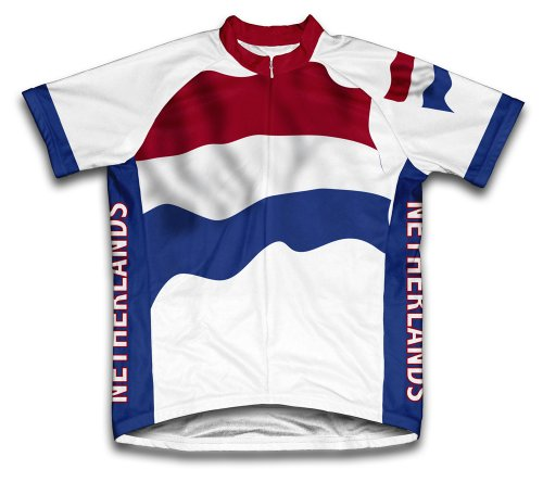 Netherlands Flag Short Sleeve Cycling Jersey for Men - Size (Netherlands Away Jersey)