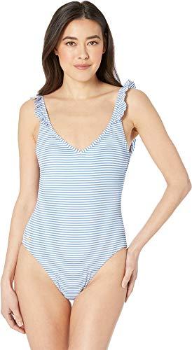 Polo Ralph Lauren Women's Seersucker Stripe Ruffle Back One-Piece Swimsuit Denim Large