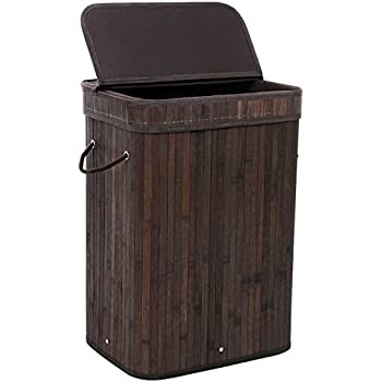 SONGMICS Bamboo Laundry Hamper Storage Basket Folding Dirty Clothes Hamper with Lid Handles and Removable Liner Rectangular Dark Brown ULCB10B