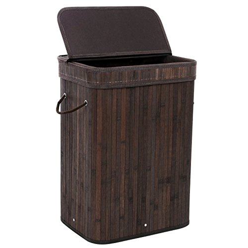 SONGMICS Bamboo Laundry Hamper Storage Basket Foldable Dirty Clothes Hamper with Lid Handles and ...