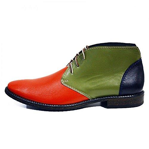 PeppeShoes Modello Cava de Tirreni 2 - Handmade Italiano da Uomo in Pelle Colorato Chukka Boots - Vacchetta Pelle Morbido - Allacciare