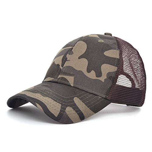 Low Profile Camouflage Baseball Cap Military Army Snapback Mesh Adjustable Hat Camo Brown Grid Unisex Women Men Kids Sun