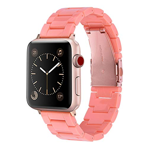 V-MORO Resin Bands Compatible with Apple Watch Band 38mm 40mm Women Replacement for iWatch Series 4/3/2/1 with Stainless Steel Metal Buckle Lightweight Wristband(Living Coral, 38mm/40mm)