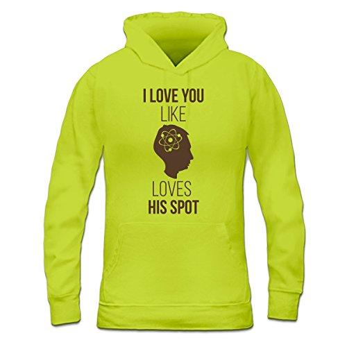 Sudadera con capucha de mujer Like Sheldon Loves His Spot by Shirtcity  verde limón