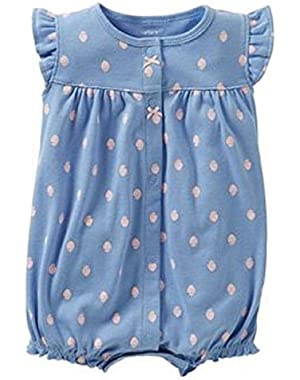 Carters Baby Girls Floral Diamond Romper 3 Month Blue