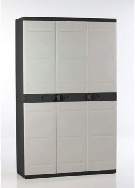 Titanium plastiken Armario Alta 3 Puertas con étageres y penderie- L105 xp44 X H176 cm-Beige y Noir-intérieur y Exterior: Amazon.es: Bricolaje y herramientas