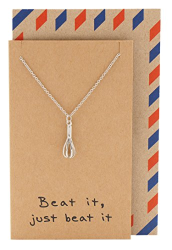 Quan Jewelry Baker Chef Necklace, Gifts for Mom,, Whisk Egg Beater Pendant Charm, Fashion Jewellery Comes with Inspirational Quote Card