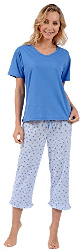 Pink Lady Women's Knit Short Sleeve Top and Capri 2 Piece Pajama Set (Blue Floral XXX-Large)