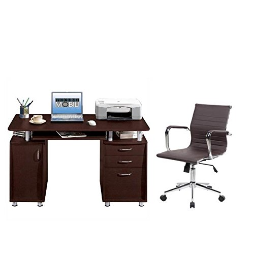 ith Executive Office Chair and Computer Desk in Chocolate (2 Pkg Ready Made)