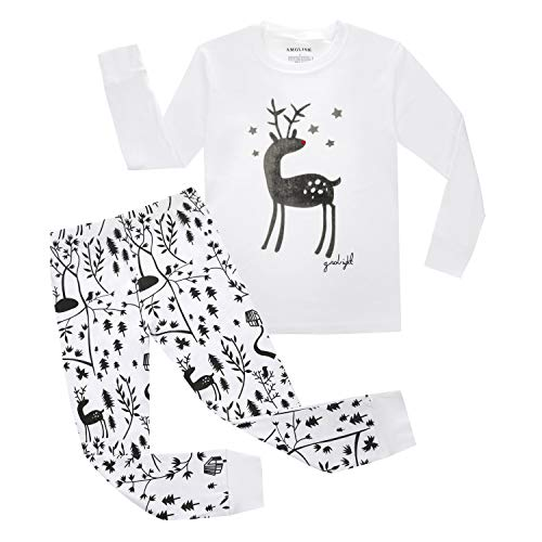 AMGLISE Deer Little Girls' 2 Piece Pajama 100% Cotton(Size 6Y-7Years) -
