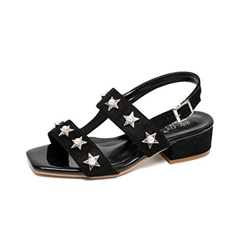 Confort Sandales Élégant Chaussures à 44 L'usure Noir Femmes 35 Antidérapante Plates JRenok Résistant Loisir w1SqYfqWd