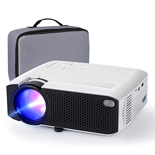 Projector APEMAN Mini Portable Projector 180″ Display and 1080P Supported 45000 Hrs Low Noise Dual Speakers HDMI/VGA/USB/Laptop/TV Box/PS3/4 Chromecast Compatible for Home Cinema[Carry Case Included]