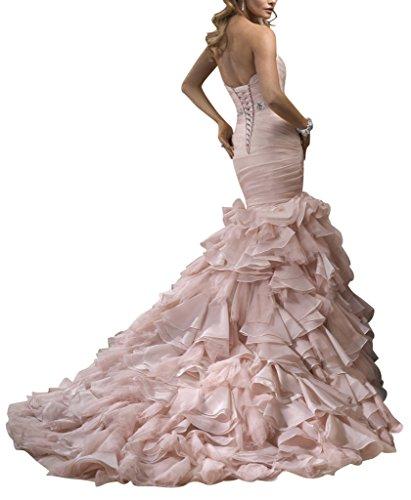 Brautkleid Rosa rosa Meerjungfrau schlepp cute Garn GEORGE BRIDE Cute qw74Bf0H