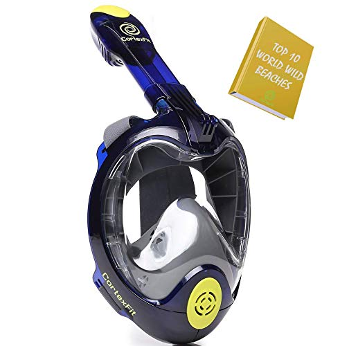 CortexFit First Professional Full Face Snorkel Mask 2019 with FreeBreath Technology and Anti Fog Anti Leak Design and Panoramic 180 Swimming and Snorkeling for Adults and Kids (Blue, S/M)