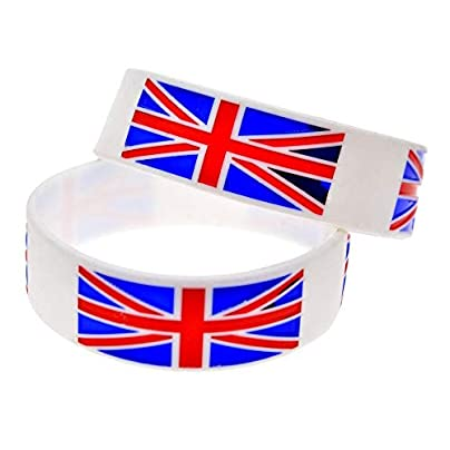 Sxuefang Silicone Bracelets With Logo Cdisconut English Flag Rubber Wristbands For Men And Kids Encouragement Set Pieces Creative Gift Estimated Price £29.99 -