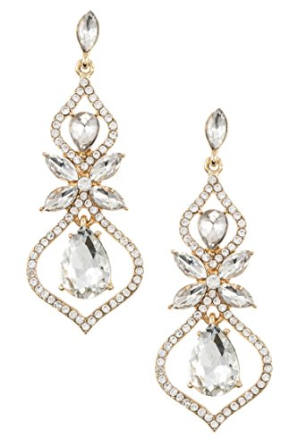 Trendy Fashion Jewelry Floral Rhinestone Drop Dangle Accent Evening Earring By Fashion Destination | (Gold/Clear) (Trifari Necklace Chain)