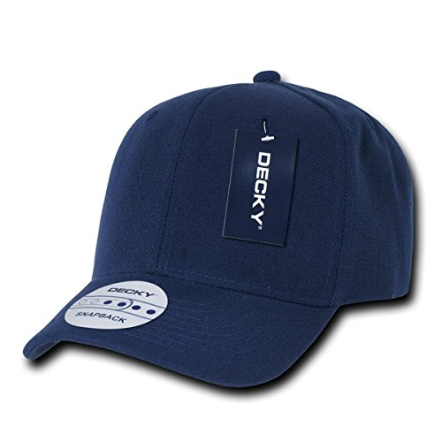 DECKY Acrylic Curved Bill Snap 6 Panel High Crown Baseball Cap_Navy_One Size (Crown Cap 6 Panel)