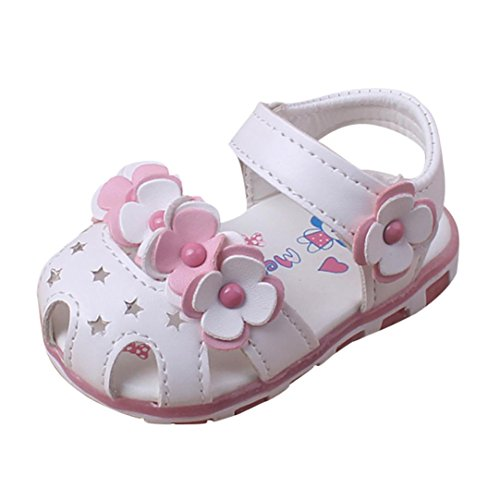 Fabal Fashion Causal Baby Sandals Summer Flower Soft Bottom Child Girls Sandal Shoes (12~18Month, White)