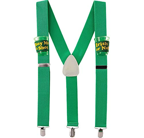 St. Patrick's Day Green Shot Glass Suspenders | Party Accessory -