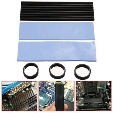 Computer Components CPU Cooling Fans MITUHAKI Aluminum Cooling Heat Sink Thermal Pad Black For SM961 960PRO M.2 NGFF NVMe 2280-1 x Heat Dissipation Aluminum 3 x Silica Gel 2 x Thermal Wafers