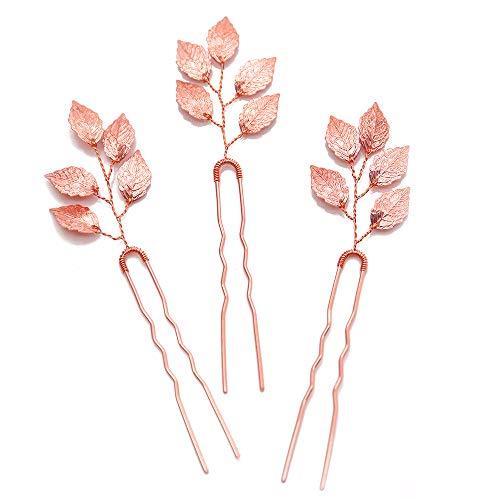 Missgrace Bridal Rose Gold Hair Pins Women Crystal Rhinestone Headpiece Wedding Leaf Hair Pins Clips Bridal Hair Jewelry Wedding Hair Accessories (pack of 3)