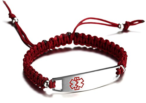 Buy Cheap JF.JEWELRY 12 mm Medical Alert Bracelet for Kids with Nylon Braided Band, Free Engraving
