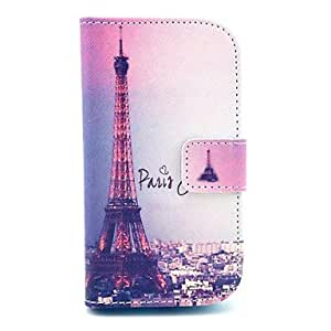 Signature Eiffel Tower Pattern PU Leather Case with Card Slot and Stand for Samsung Galaxy S3 mini I8190