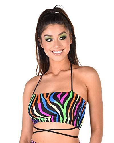 iHeartRaves Zesty Zebra Stripe Rainbow Wrap Around Tube Top (Large)