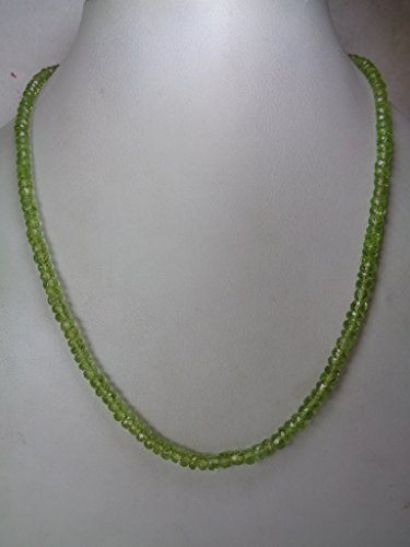 (3.5mm Faceted Genuine Peridot Rondelle Beads Necklace, 16 Inches Necklace, August Birthstone Jewelry, Gift for Her)