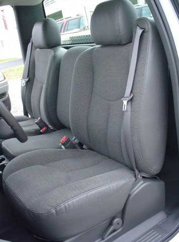 20 Front Split Seat - Durafit Seat Covers made to fit2003-2007 Chevy Silverado and GMC Sierra, Work Truck Seat Covers, Front 40/20/40 Split Seat with Manual Controls and Without Console, in Charcoal, Endura Fabric