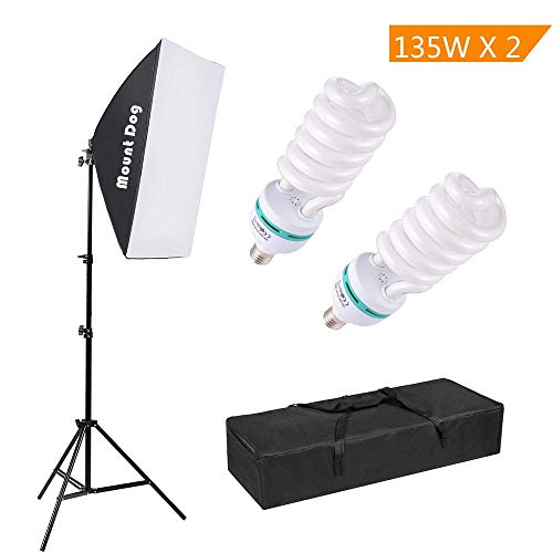 "MOUNTDOG 1350W Photography Continuous Softbox Lighting Kit 20""X28"" Professional Photo Studio Equipment with 2pcs E27 Socket 5500K Video Lighting Bulb for Filming Portraits Shoot from MOUNTDOG"